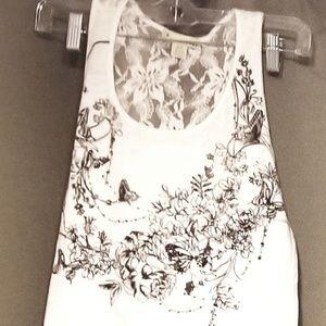 Woman's, sm, white lace back, sleeveless tank top